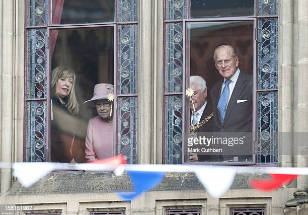 Her Majesty The Queen Accompanied By His Royal Highness The Duke Of Edinburgh Visits Manchester Town Hall For Lunch Before Doing A Brief Walkabout On...