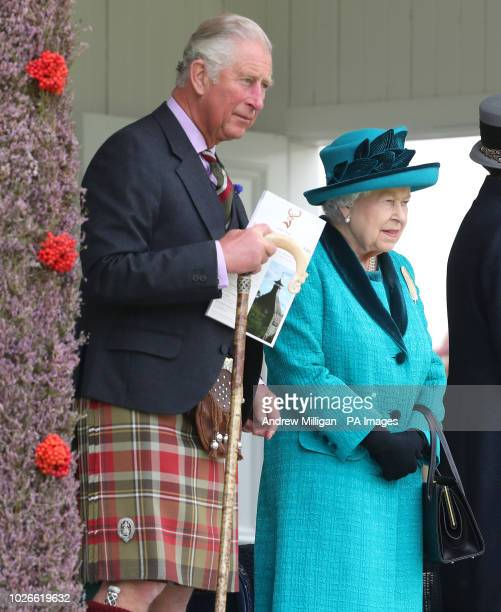 Her Majesty the Queen alongside the Duke of Rothesay Prince Charles as he is known in Scotland at the Braemar Royal Highland Gathering at the The...