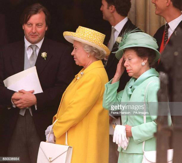 Her Majesty the Queen and HRH Princess Margaret arriving for the wedding of the late Earl Louis Mountbatten's grandson Timothy Knatchbull at...