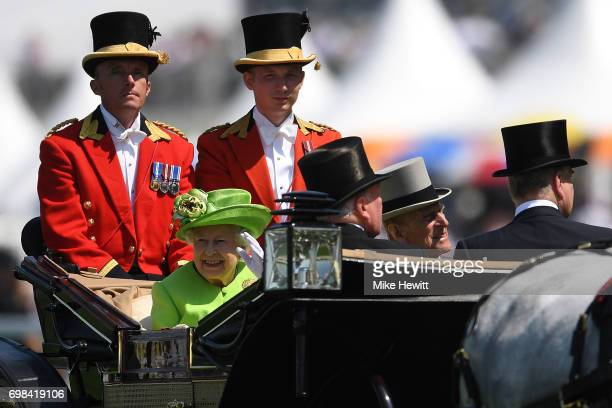 Her Majesty The Queen and Prince Phillip arrive for the first day of Royal Ascot at Ascot Racecourse on June 20 2017 in Ascot England
