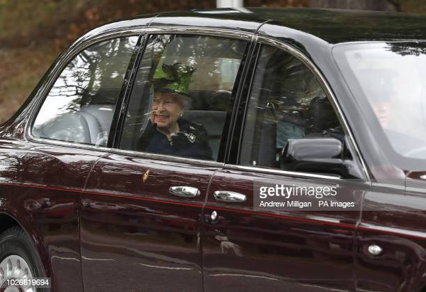 Her Majesty the Queen arrives at Crathie Kirk for morning service PRESS ASSOCIATION Photo Picture date Sunday September 2 2018 Photo credit should...