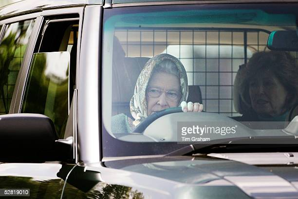 Her Majesty The Queen arrives at Windsor Horse show in her Range Rover to watch her husband HRH Prince Phillip The Duke of Edinburgh compete in the...
