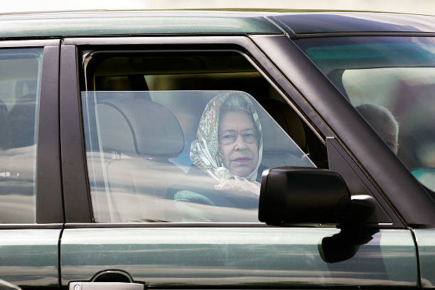 Her Majesty The Queen Arrives At Windsor Horse Show In Range Rover To Watch