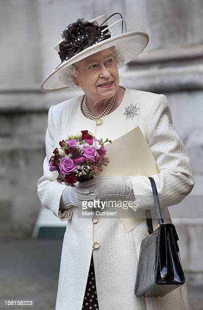 Her Majesty The Queen Attends A Service Of Celebration To Mark The 400Th Anniversary Of The King James Bible At Westminster Abbey.