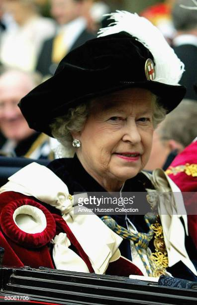Her Majesty The Queen attends The Order of the Garter Service at Windsor Castle on June 13 2005 in Windsor England