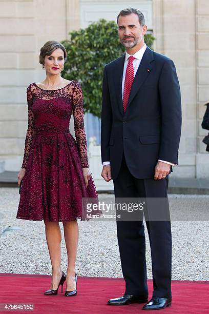 Her Majesty The Queen Letizia of Spain and His Majesty The King Felipe VI of Spain arrive at the State Dinner offered by French President François...