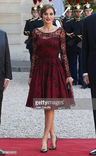Her Majesty The Queen Letizia of Spain arrives at the State Dinner at the Elysee Palace on June 2 2015 in Paris France