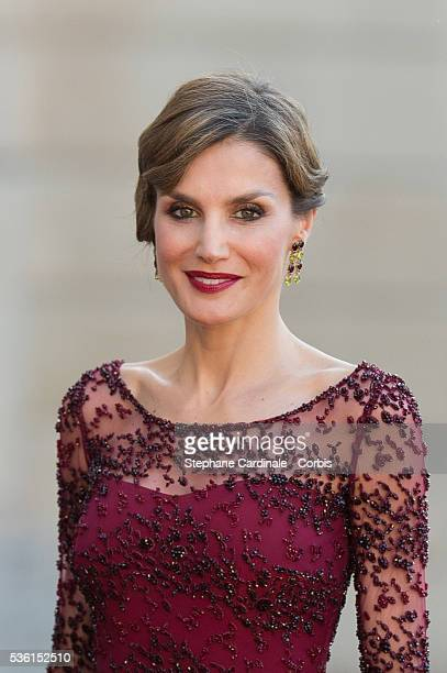 Her Majesty The Queen Letizia of Spain poses before the State Dinner offered by French President François Hollande at the Elysee Palace on June 2...