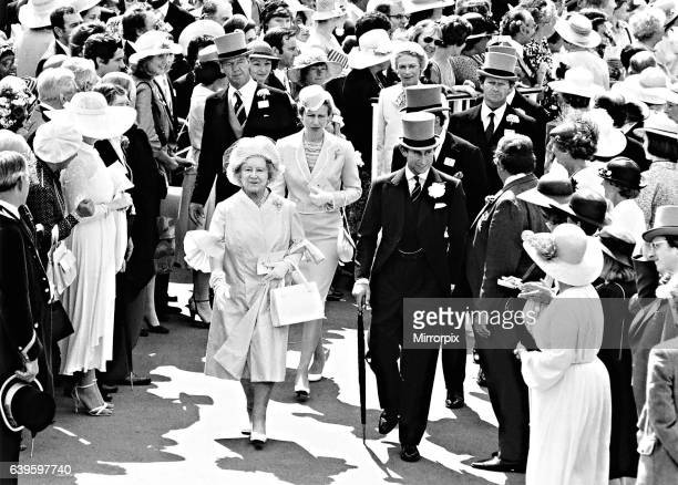 Her Majesty the Queen Mother accompanied by Princess Anne and Prince Charles on the second day of Royal Ascot, June 1980.