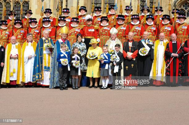 Her Majesty The Queen Princess Eugenie are seen during the Royal Maundy Service at St Georges Chapel in Windsor