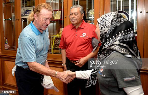Her Majesty The Raja Agong Tuanku Hajah Haminah The Queen of Malaysia meets Miguel Angel Jimenez the Team Europe Captain before the proam event prior...