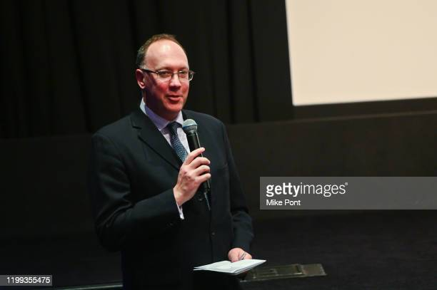 Her Majesty's Consul General in New York Trade Commissioner for North America Anthony Phillipson speaks during the Seven Worlds One Planet Screening...