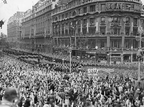 Her Majesty's Procession march down Northumberland Avenue led by Colonel B J O Burrows OBE TD and Five Companies of the Foot Guards as they escort...
