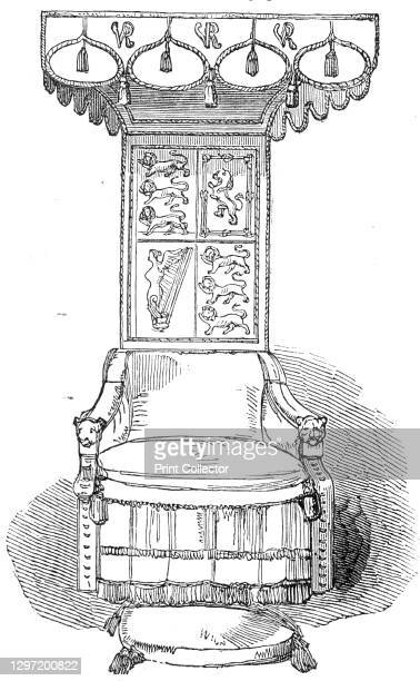 Her Majesty's State Chair, Great Hall, Lincoln's Inn New Buildings, 1845. Throne used by Queen Victoria during the official opening of new buildings...