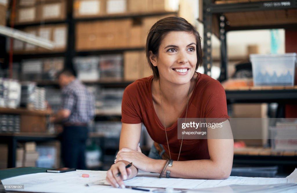 Her mind creates entrepreneurial success : Stock Photo