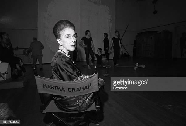 Her name across the back of the director's chair Martha Graham eyes camera as her troupe rehearses in New York in March 1973 Now 80 the American...