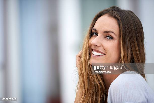 her positive attitude makes every day pleasant - straight hair stock pictures, royalty-free photos & images