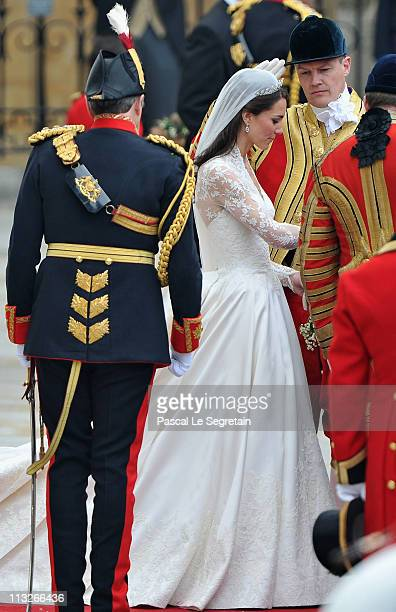 Her Royal Highness Catherine Duchess of Cambridge prepares to begin her journey by carriage procession with Prince William Duke of Cambridge to...