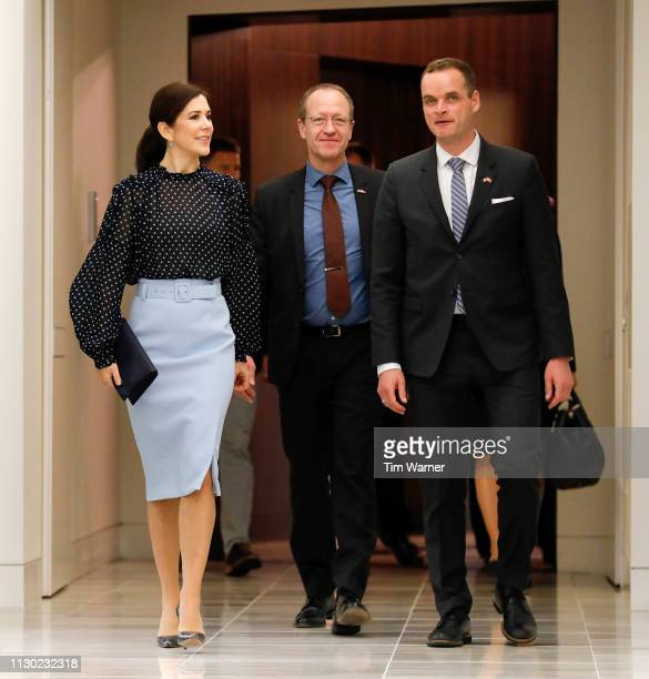Her Royal Highness Crown Princess Mary of Denmark Acting Ambassador Henrik Hahn Bramsen and Consul General in Houston Jacob Vind arrive at an event...