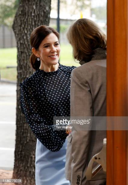 Her Royal Highness Crown Princess Mary of Denmark arrives at the opening of the Danish jewellery exhibition at Houston Center for Contemporary Craft...
