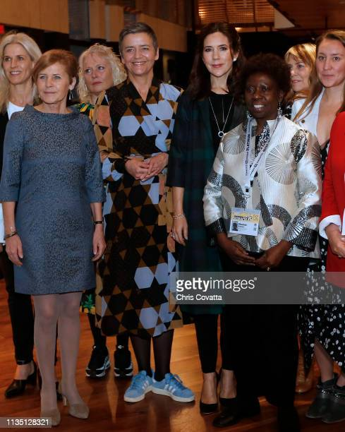 Her Royal Highness Crown Princess Mary of Denmark attends the Women in Leadership How To Inspire the Next Generation of Women Leaders roundtable and...