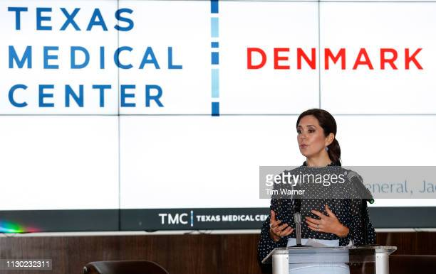 Her Royal Highness Crown Princess Mary of Denmark delivers remarks during an event highlighting an exploration of life science collaboration...