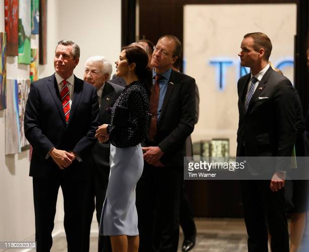 Her Royal Highness Crown Princess Mary of Denmark enters the room escorted by William F McKeon President CEO of Texas Medical Center before an event...