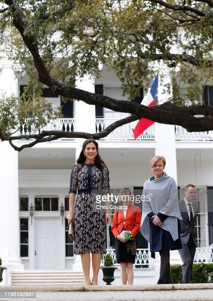 Her Royal Highness Crown Princess Mary of Denmark leaves the Governor's Mansion after meeting with the Governor of Texas Greg Abbott on March 11 2019...