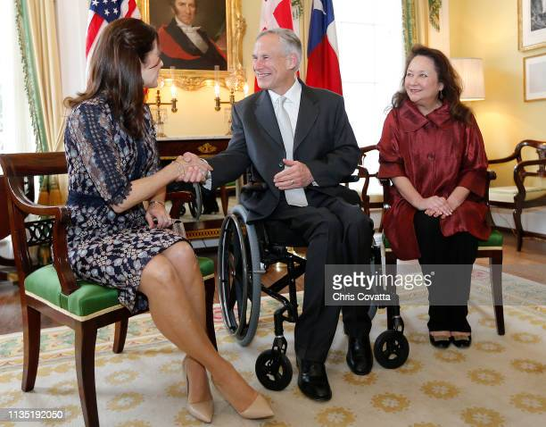 Her Royal Highness Crown Princess Mary of Denmark meets with the Governor of Texas Greg Abbott and Texas First Lady Cecilia Abbott at the Governor's...