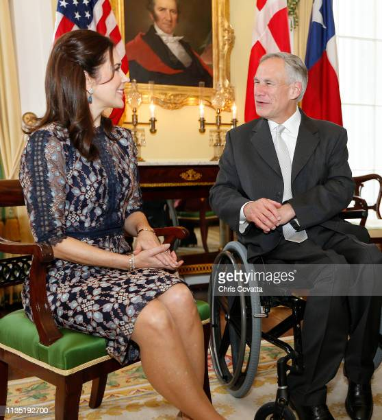 Her Royal Highness Crown Princess Mary of Denmark meets with the Governor of Texas Greg Abbott at the Governor's Mansion on March 11 2019 in Austin...