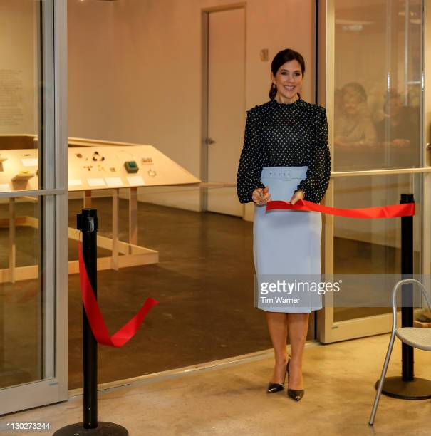 Her Royal Highness Crown Princess Mary of Denmark participates in the ribbon cutting ceremony at the opening of the Danish jewellery exhibition at...