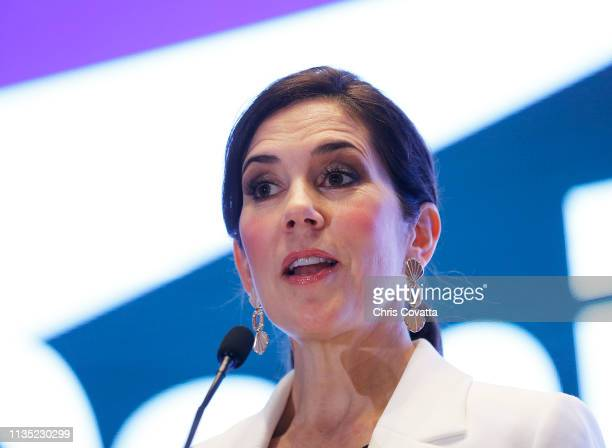 Her Royal Highness Crown Princess Mary of Denmark speaks at a reception at the House of Scandinavia on March 11 2019 in Austin Texas
