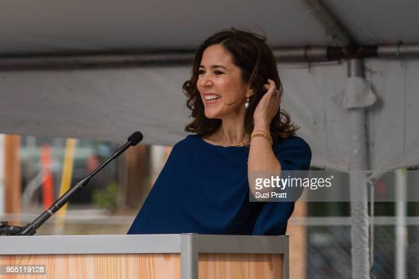 Her Royal Highness Crown Princess Mary of Denmark speaks at the Nordic Museum on May 5 2018 in Seattle Washington