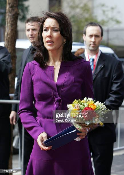 Her Royal Highness Crown Princess Mary of Denmark speaks with the media following the unveiling ceremony of a statue of the late Dr Victor Chang...