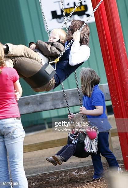 Her Royal Highness Crown Princess Mary of Denmark takes her children Prince Christian and Princess Isabella to a Hobart park to play on August 20...