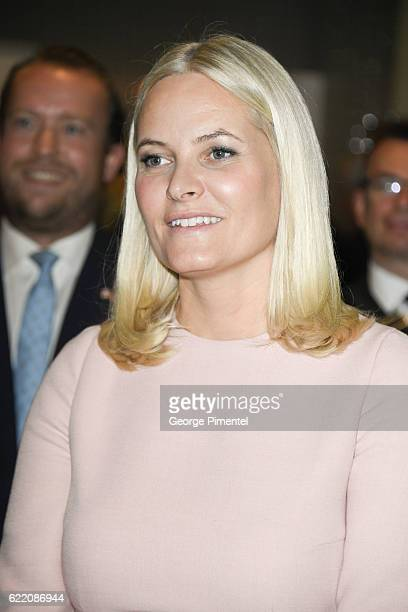 Her Royal Highness Crown Princess MetteMarit attend MaRS Centre Fram Medtech and Startup Initiative during their Royal Tour of Canada on November 8...