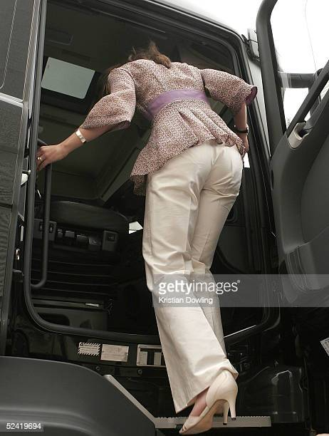 Her Royal Highness Crown Princess Victoria of Sweden gets into a truck made by Swedish truck manufacturer Scania March 15 2005 in Campbelfield...