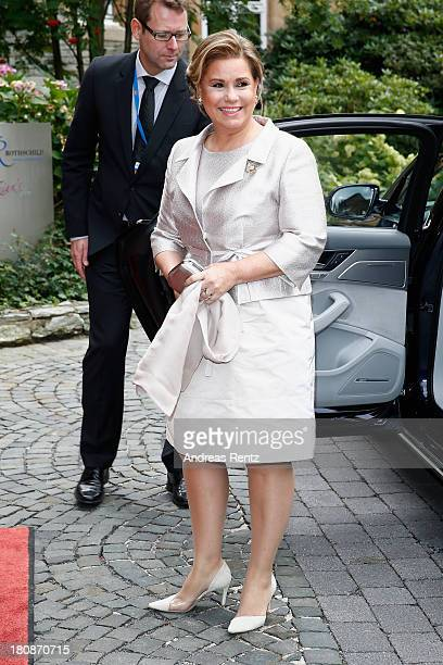 Her Royal Highness Grand Duchess Maria Teresa of Luxembourg arrives at the Civil Wedding Of Prince Felix Of Luxembourg Claire Lademacher at Villa...