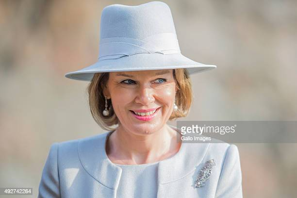 Her Royal Highness Mathilde Queen Of Belgium visits the Forest Education Center on October 14 2015 in Warsaw Poland During the visit TRH planted...