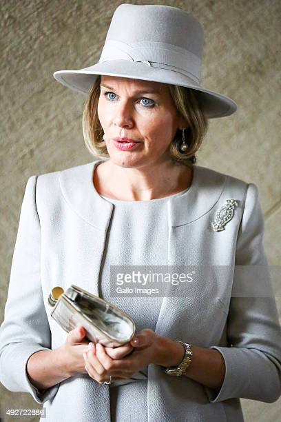 Her Royal Highness Mathilde Queen Of Belgium visits the POLIN Museum of the History of Polish Jews on October 14 2015 in Warsaw Poland The King and...