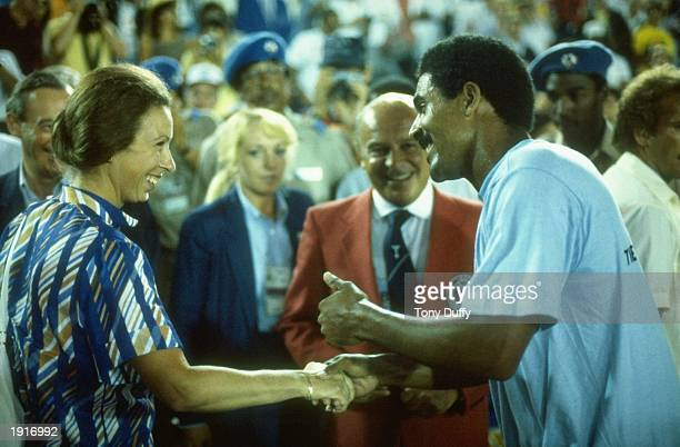 Her Royal Highness Princess Anne jokes with Daley Thompson of Great Britain during the 1984 Olympic Games in Los Angeles USA Mandatory Credit Tony...