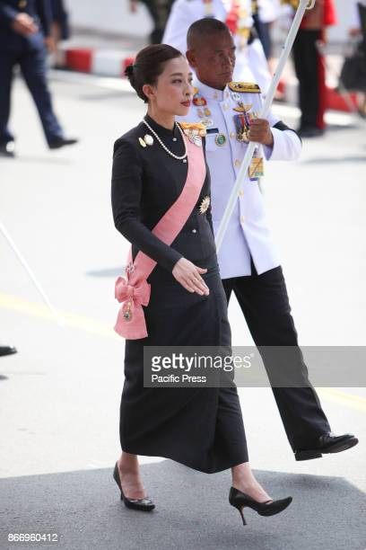 Her Royal Highness Princess Bajrakitiyabha join a procession to transfer His Majesty the late King Bhumibol Adulyadejs royal relics and ashes from...
