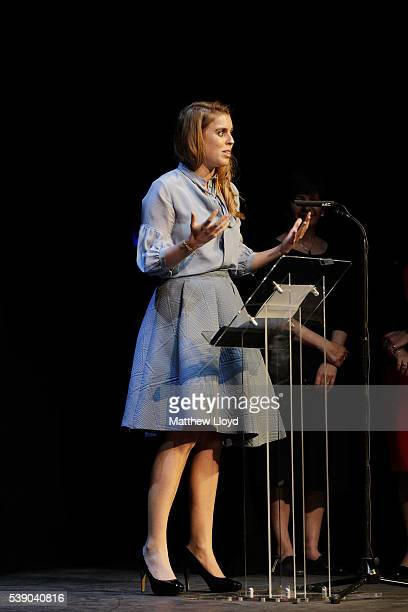 Her Royal Highness Princess Beatrice of York makes a speech after watching a short performance of a scene from William Shakespeare's 'The Tempest' at...