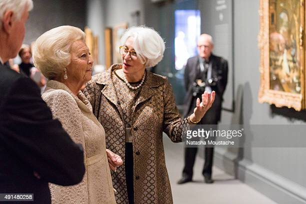 Her Royal Highness Princess Beatrix of the Netherlands and Museum of Fine Art Senior Curator Ronni Baer view 'Class Distinctions Dutch Paintings In...