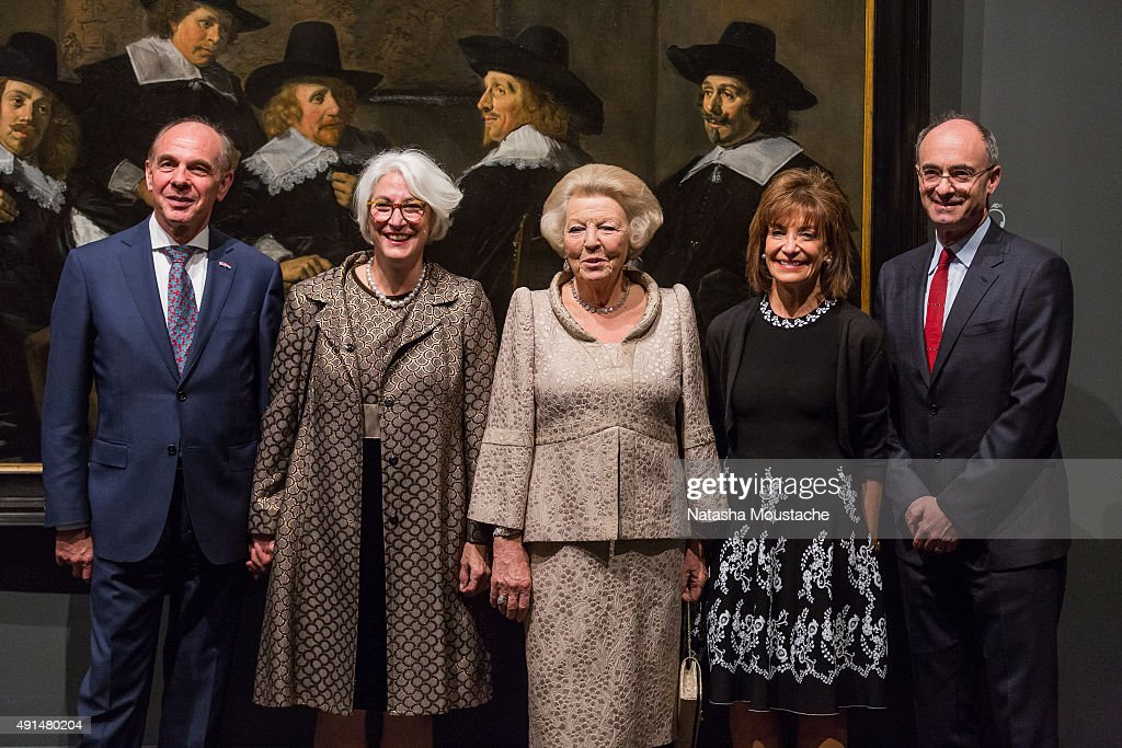 Her Royal Highness Princess Beatrix of the Netherlands, Dutch General Consul Mr. Rob de Vos, Senior Curator Ronni Baer, MFA Chair of the Board Lisbeth Tarlow, and Director of the Museum of Fine Arts Matthew Teitelbaum view 'Class Distinctions: Dutch Paintings In The Age Of Rembrandt And Vermeer' exhibition on October 5, 2015 in Boston, Massachusetts.