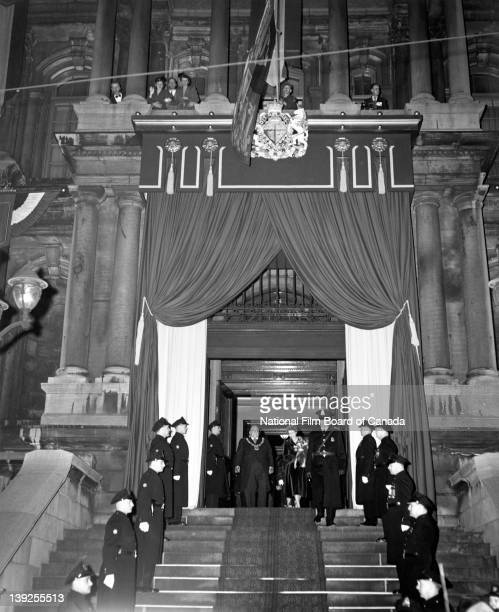 Her Royal Highness Princess Elizabeth stand with Montreal Mayor Camilien Houde by her side as they are leaving Montreal's City Hall Quebec Canada...