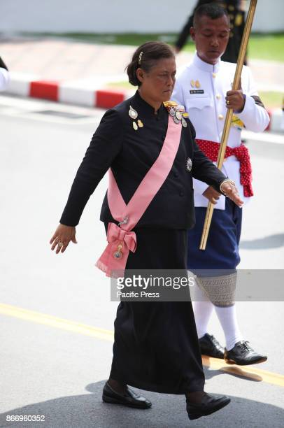 Her Royal Highness Princess Maha Chakri Sirindhorn join a procession to transfer His Majesty the late King Bhumibol Adulyadejs royal relics and ashes...