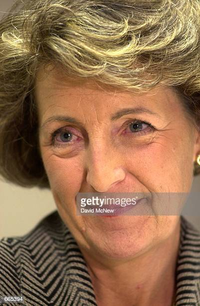 Her Royal Highness Princess Margriet of Holland talks with a reporter at the American Red Cross offices in Santa Ana CA October 10 2000 The princess...