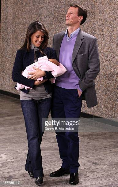 Her Royal Highness Princess Marie and Prince Joachim of Denmark introduce their new baby girl to the press at Rigshospitalet on January 27 2012 in...