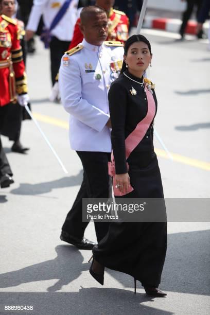 Her Royal Highness Princess Sirivannavari Nariratana join a procession to transfer His Majesty the late King Bhumibol Adulyadejs royal relics and...
